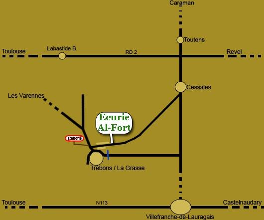 Plan d'accès simplifié à l'écurie Al-Fort